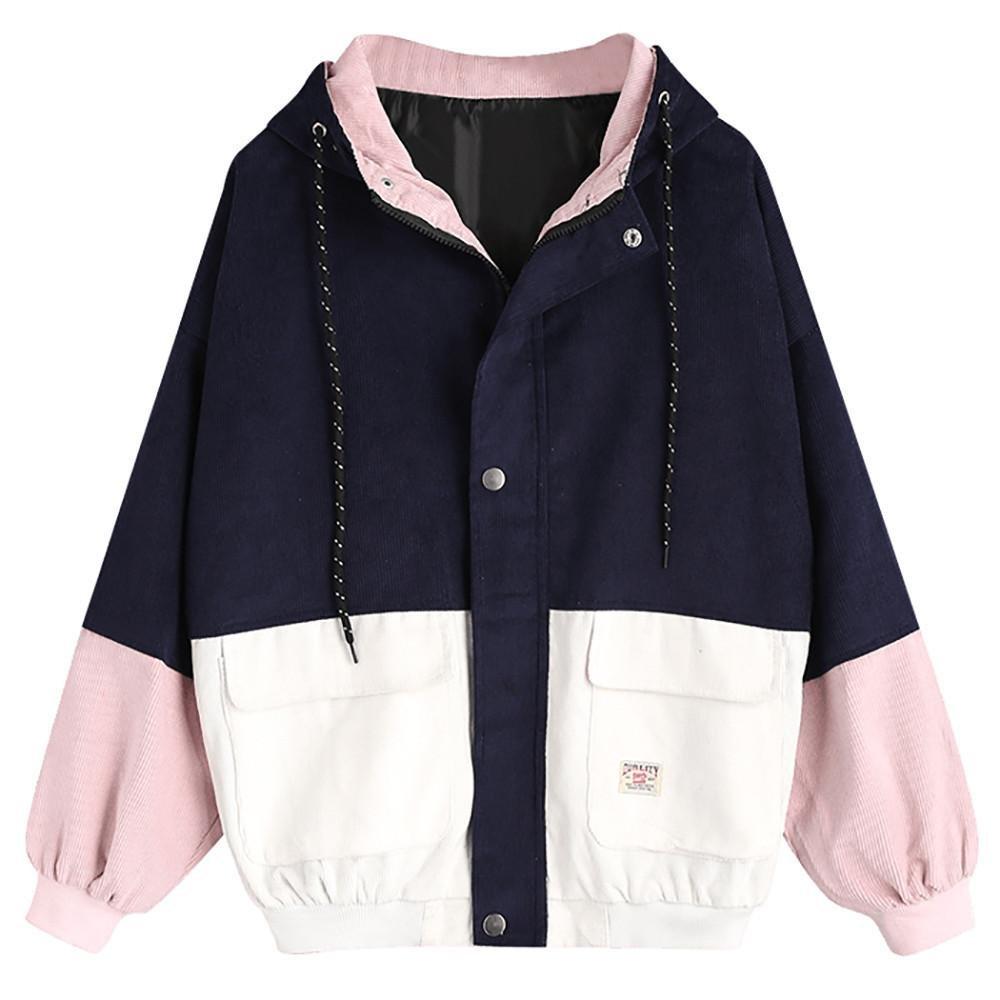 Women Teen Girls Vintage Long Sleeve Coat [Plus Size],Color Block Corduroy Hooded Jacket Windbreaker Cardigan Oversized [ Hot Sale] (Navy, S)