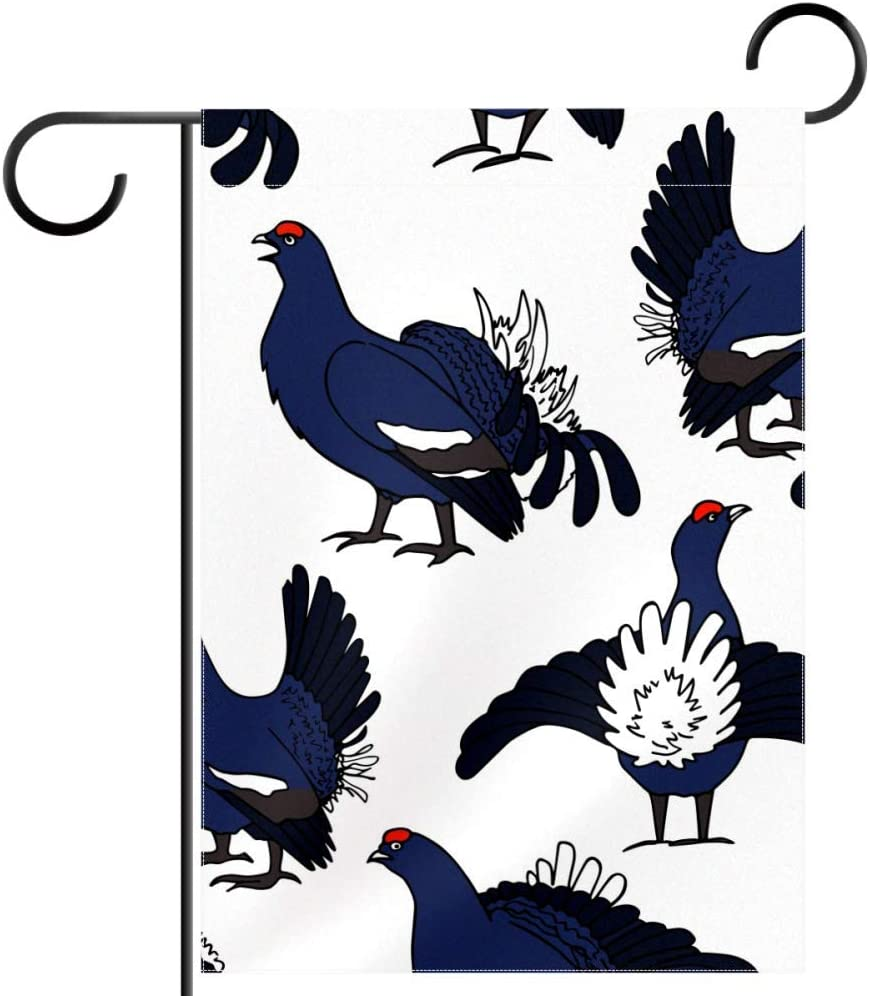 Lyetny Black Grouse Home Decorative Flags Garden Yard Flag Polyester Fabric 12x18 in