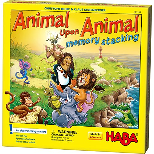 HABA Animal Upon Animal Stacking Memory Game - A Thrilling Twist of the Popular Game (Made in Germany) Haba Memory Game