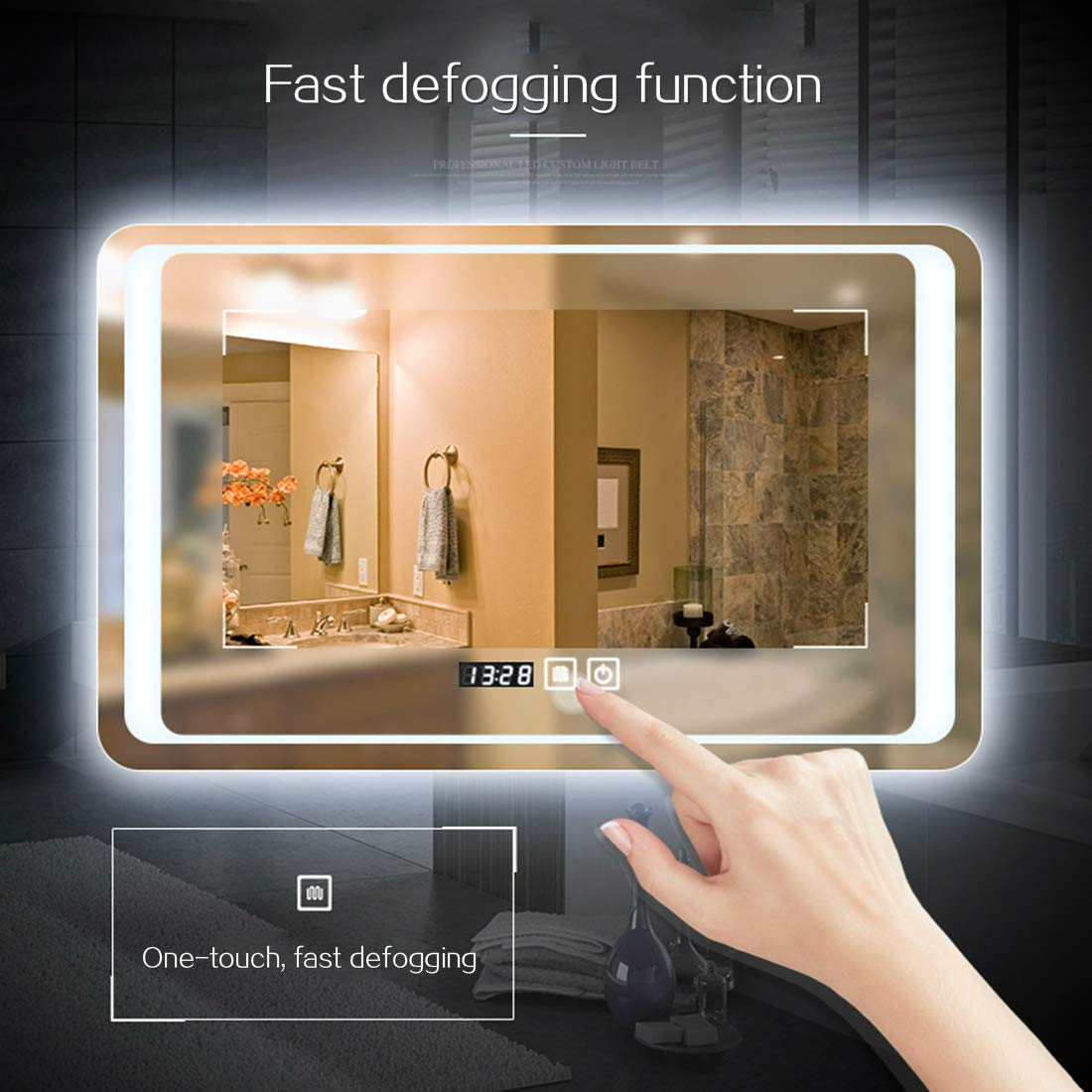Adjustable Warm White//Daylight Lights,Safety Mirror+Touch Button+Waterproof 20x28inch Halo kunyue LED Bathroom Wall Mounted Makeup Mirror LED Smart Mirror,Rectangle Mirror