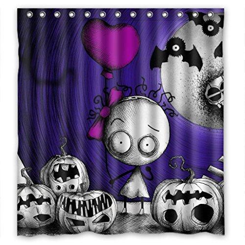 (Happy Hallowmas pumpkin skull Shower Curtain Measure)