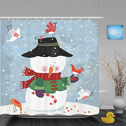 Lazade Birds Are Looking For Food in Snowman Side Home Decorative Polyester Shower Curtain 72x72 (Western Food Ideas)