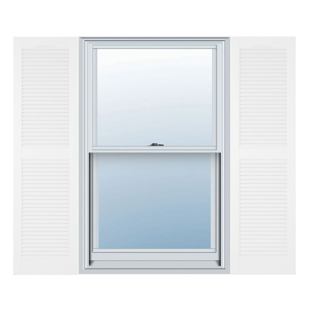Builders Edge 12 in. Vinyl Louvered Shutters in Bright White - Set of 2 (12 in. W x 1 in. D x 31 in. H (3.26 lbs.))