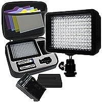 LimoStudio, AGG1318, 160 LED Photo Photo Light para cámara y videocámara DSLR digital, valor de lumen de alto brillo, interruptor regulable con filtro de color, batería, cargador, bolsa de mano incluida