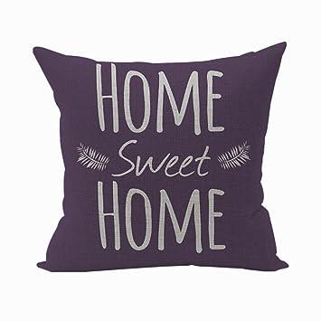 Nunubee Kissenbezug #home Sweet Home# Baumwolle Leinen Platz Dekokissen  Fall Dekorative Wohnzimmer Kissen Deko