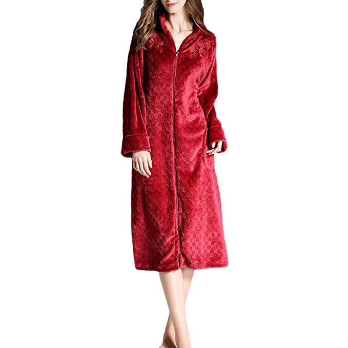... Super Soft Thick Luxurious Dressing Gown Full Zipped Bata Housecoat para Womens Gym Shower SPA Hotel Nightwear Plus Size: Amazon.es: Ropa y accesorios