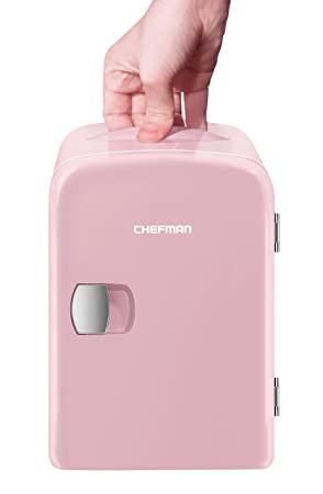 Chefman Mini Portable Compact Personal Fridge Cools & Heats 4 Liter Capacity, Chills 6 12oz Cans, 100% Freon Free & Eco Friendly, Includes Plugs For Home Outlet & 12 V Car Charger, Pink by Chefman