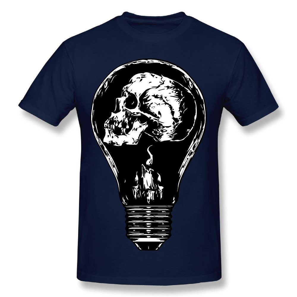 Skull In Bulb Crew Neck Graphic Shirts Navy Mens Novelty Cotton T Shirt