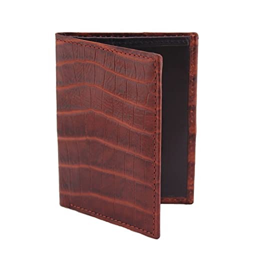 8eb94aa3a2a7 Estados Mens Leather Mini-Wallet - Chocolate Brown Croc/Dark Navy ...