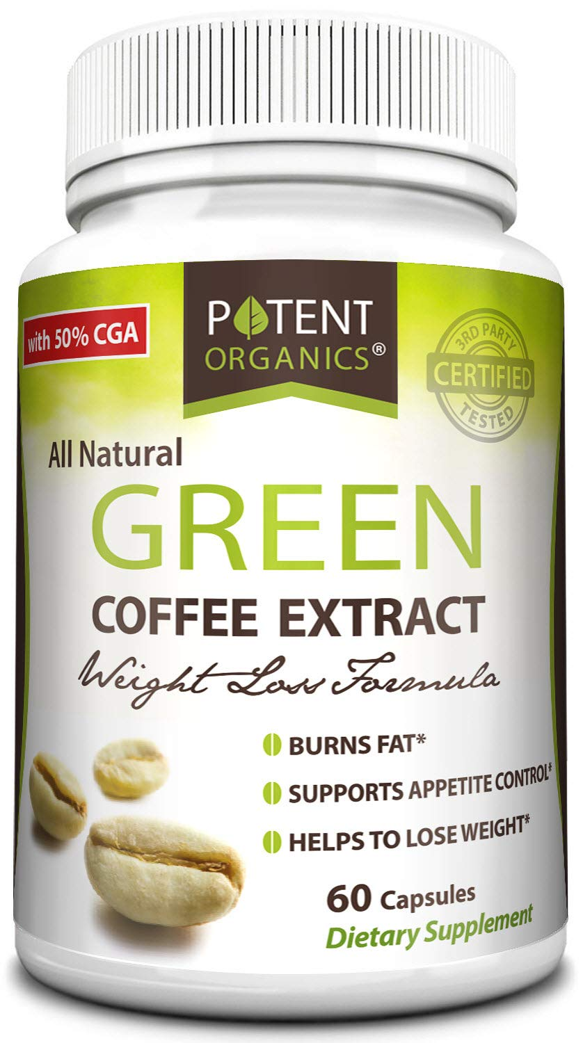 Potent Organics 100% Pure Green Coffee Bean Extract: Standardized to 50% Chlorogenic Acid – Green Coffee Beans – 800mg, 60 Capsules (1 per Serving) – Organic Green Bean Coffee Extract