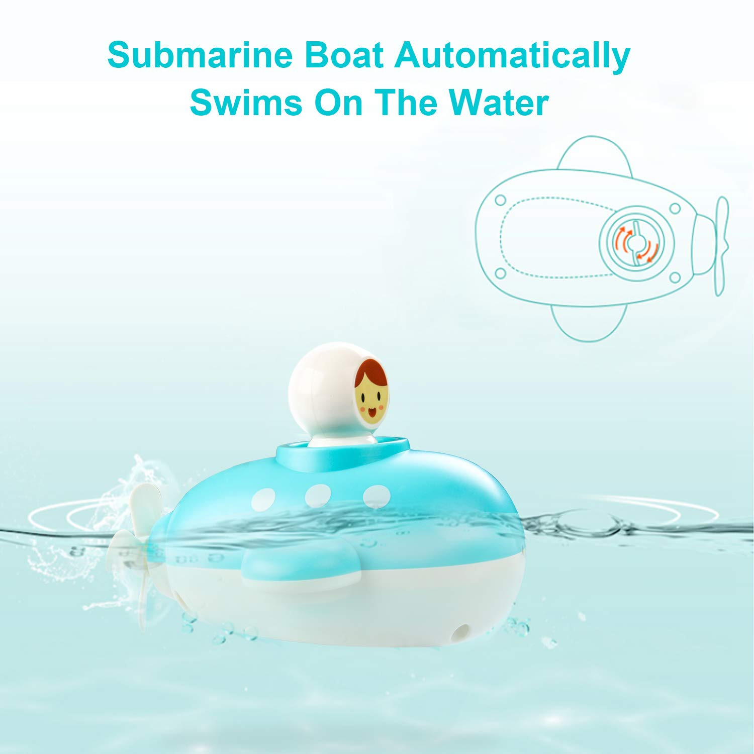 Floating in Bathtub Bathroom Watertable Bathtime for Kids Toddlers Boys Girls Wind Up Submarine Squirts with Propeller Colors May Vary KRATO Bath Boat Toys Pool Toy