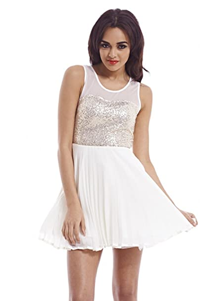 96236abb343aa AX Paris Women's Sequin Mesh Sleeveless Kick Out Skater Cream Dress at  Amazon Women's Clothing store:
