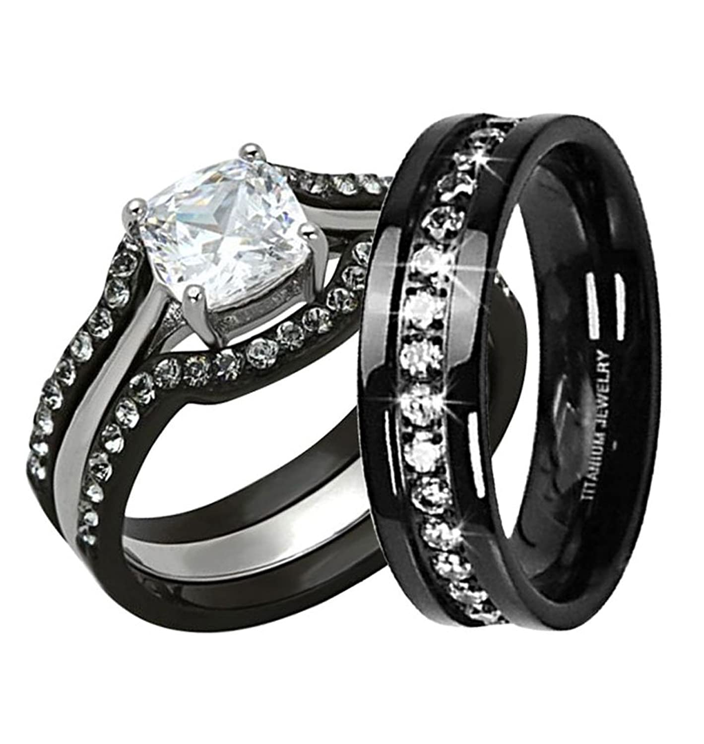 amazoncom black stainless steel titanium his and hers wedding ring set cushion cut cz women size 10 men size 10 jewelry - All Black Wedding Rings