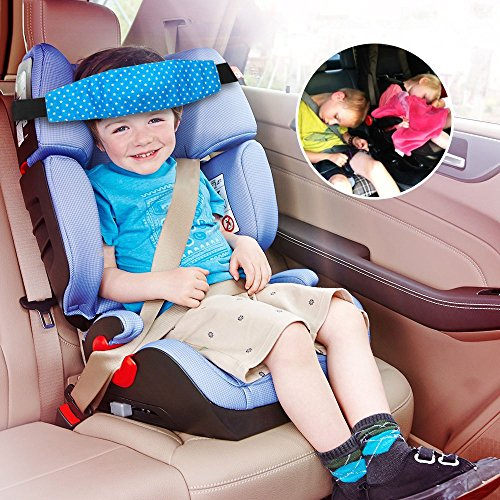 Sungrace Toddler Car Seat Baby Infant Sleeping Head Support, Safety Stroller Sleeping Belt, Kids and Baby Safety Car Seat Neck Relief Head Support Band Sleep Strap (Blue,Star)