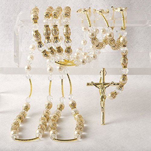(Gold opulent Wedding Lazo LA JC 608G - Lazo de Bodas Handcrafted Lasso - Lasso de Bodas Designed with golden rich elements and clear crystals - Jewelry Box & Ivory Organza Bag Included)
