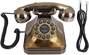 M ugast Vintage Telephone Landline,Bronze Antique Retro Office Desktop Wired Phone Landline with Noise Reduction/Number Store,Old Fashioned Home Decor Classical Telephones