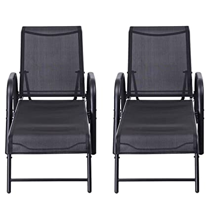 Surprising Giantex 2 Pcs Patio Lounge Chairs Pool Patio Furniture Sling Chaise Outdoor Lounges Recliner W Adjustable Back Gmtry Best Dining Table And Chair Ideas Images Gmtryco