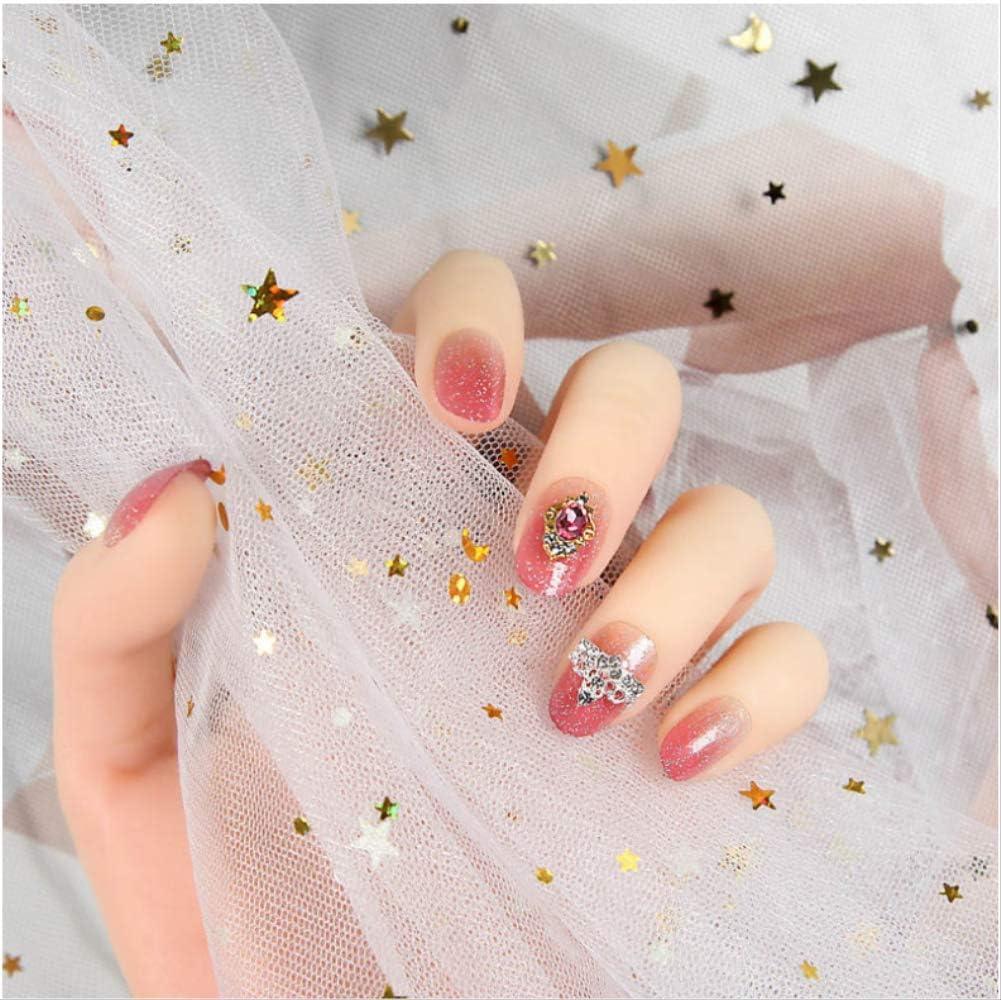 Gradiente de color rosa Brillo Uñas postizas con pegamento Uñas ...