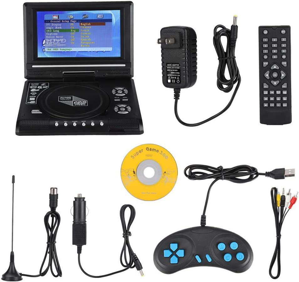 7.8-inch Portable DVD Player Swivel Screen with TV Function + Car Charger + Gamepad, Built-in Rechargeable Battery, Support FM Radio Function, Supports SD Card and USB Port, 270 Degree Rotation (US)
