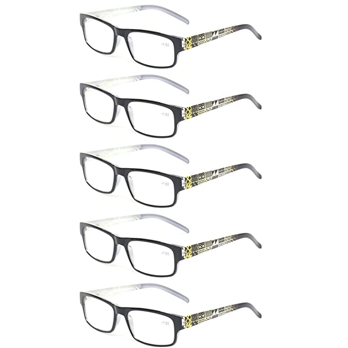 0b11b71ab960 Kerecsen 5 Pack Fashion Men and Women Reading Glasses Spring Hinge Pattern  Design Readers (5