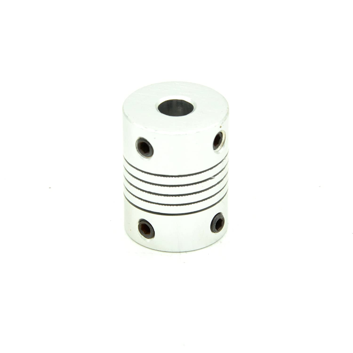 RobotDigg FCDS4-6 Flexible Coupling 4mm to 6mm Aluminum Alloy Beam Coupling Silver Color Flexible Clamping Coupler Pack of 4pcs