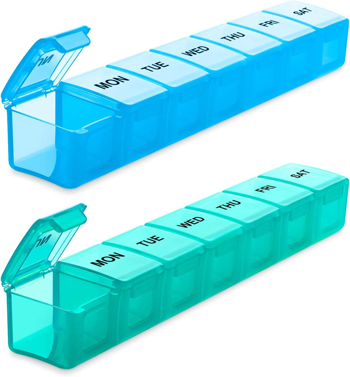 BUG HULL Extra Large Pill Organizer for Travel 2 Pack, Weekly XL Pill Box, 7 Day Jumbo Pill Case, Oversize Daily Medicine Organizer for Vitamins, Fish Oils, Supplements
