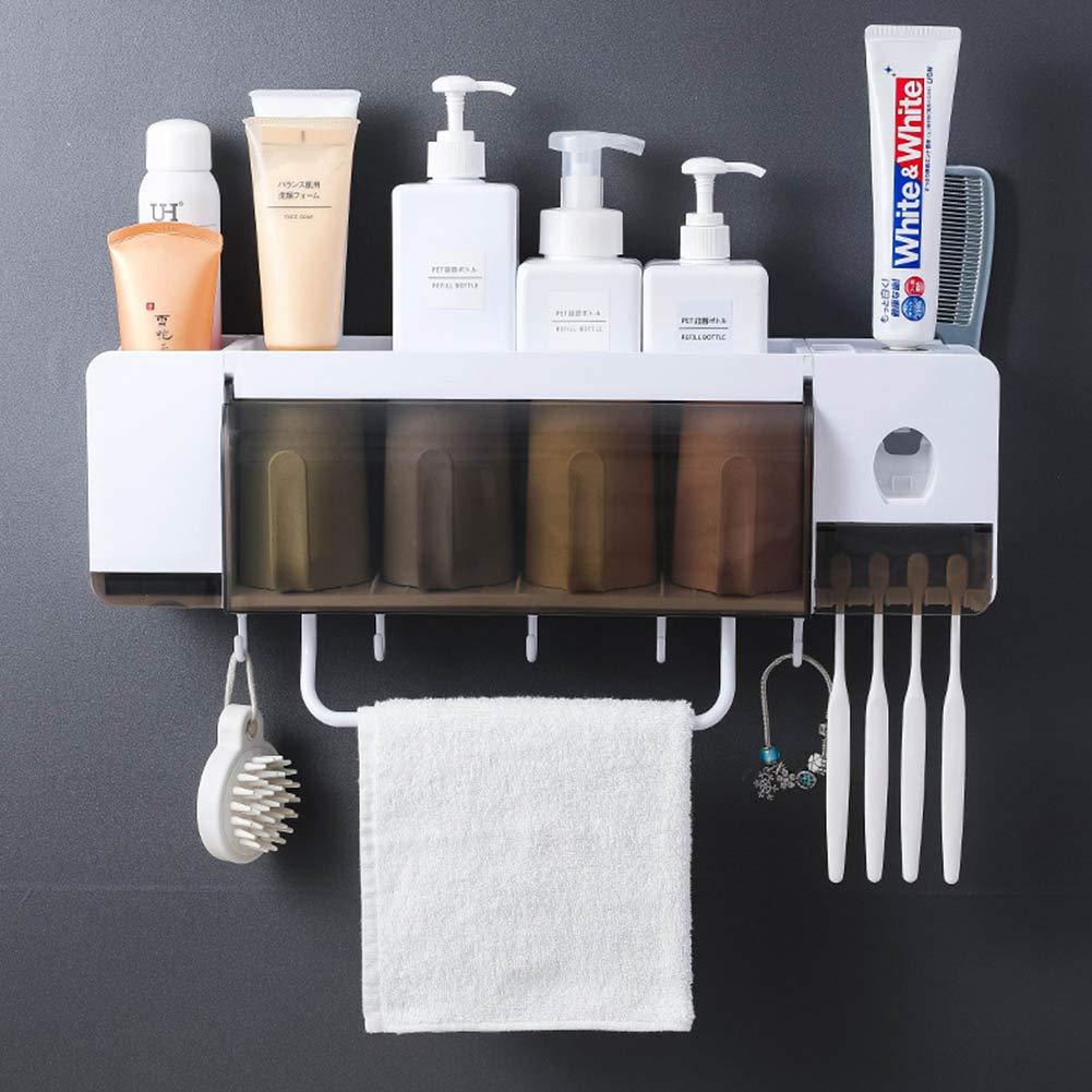 XuBa Multifunction Toothbrush Holder Toothpaste Dispenser Bathroom Storage Rack Towel Holder with Cups Four Cups by XuBa