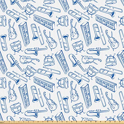 - Ambesonne Jazz Music Fabric by The Yard, Pattern of Blue Sketchy Saxophones Trombones Timpani Drums Cellos Synthesizers, Microfiber Fabric for Arts and Crafts Textiles & Decor, 5 Yards, Blue White