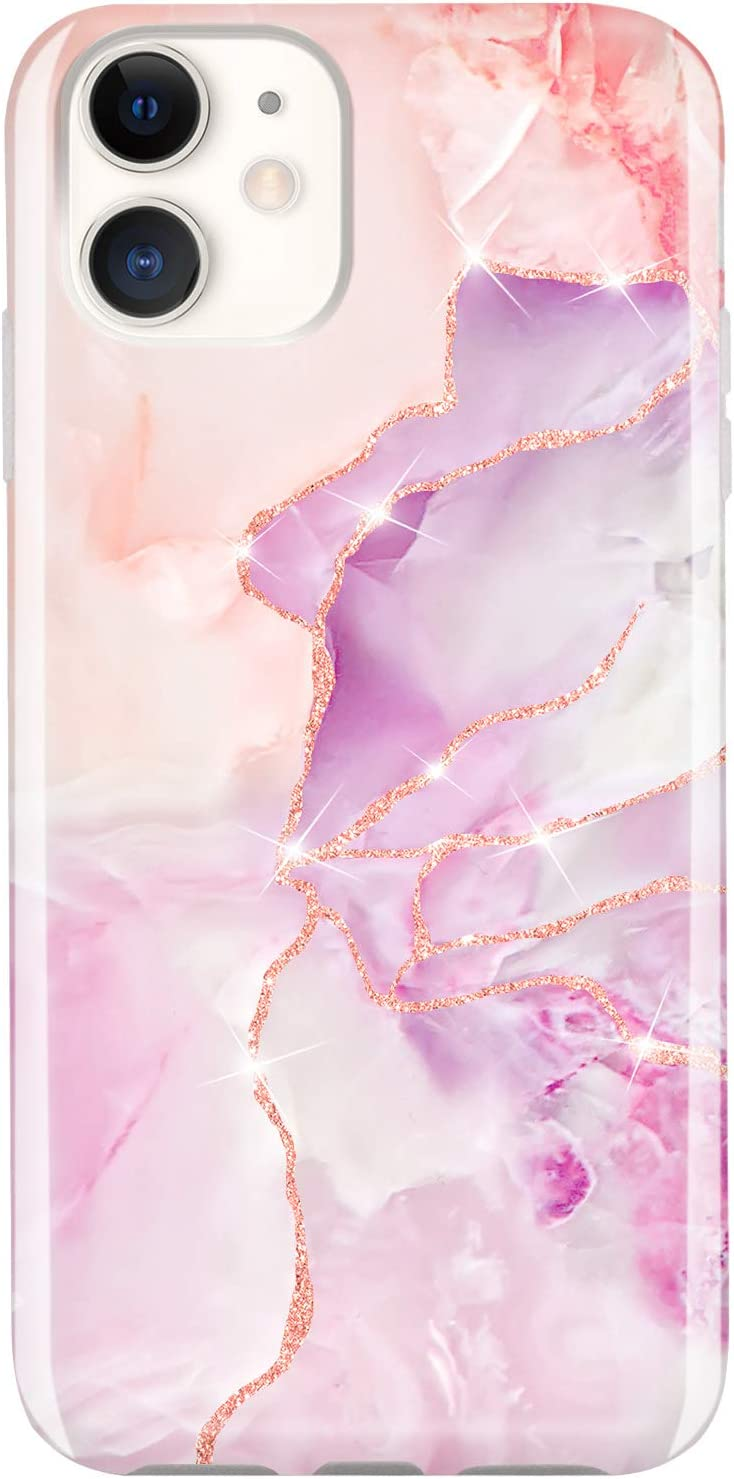 JIAXIUFEN Compatible with iPhone 11 Case Gold Sparkle Glitter Marble Slim Shockproof Flexible Bumper TPU Soft Case Rubber Silicone Cover Phone Case for iPhone 11 2019 6.1 inch - Purple