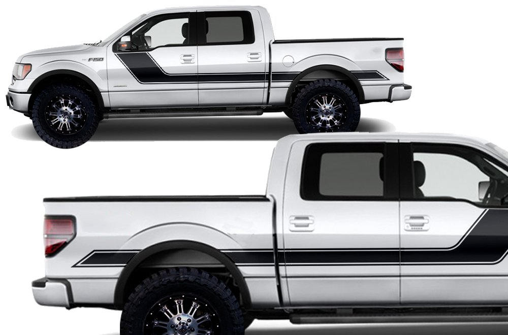 Factory Crafts Rally Stripe 2 Side Graphics Kit 3M Vinyl Decal Wrap Compatible with Ford F-150 2009-2014 Matte Black