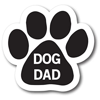Magnet Me Up Dog Dad Pawprint Car Magnet Paw Print Auto Truck Decal Magnet: Automotive