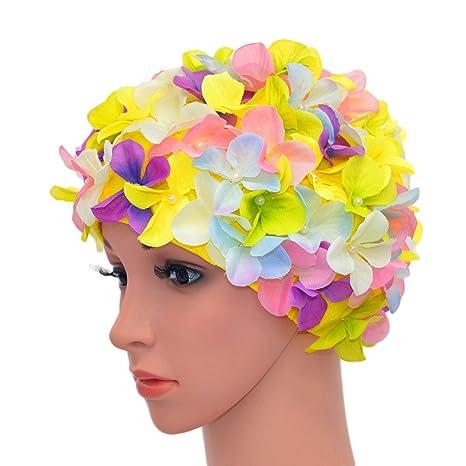 Medifier vintage floreale petalo retro Swim Bathing Caps per donne ... f3712f37cad8