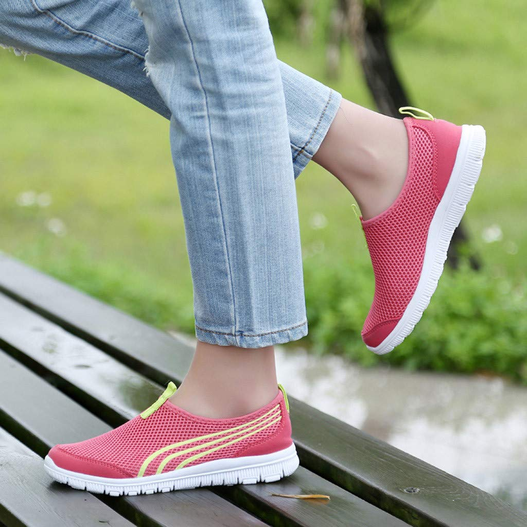 Mysky Fashion Women Colorful Striped Breathable Mesh Sneakers Ladies Casual Soft Outdoor Sports Shoes
