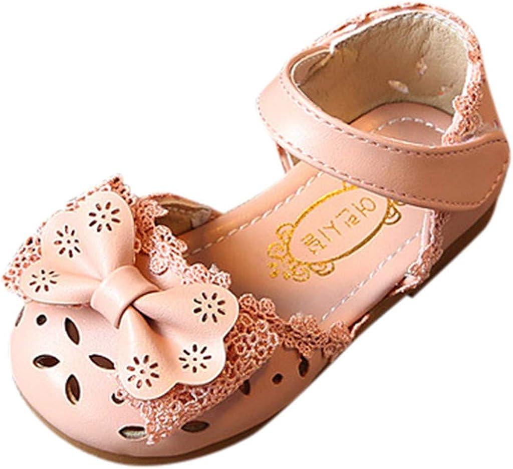LEvifun Sandale Bébé Fille Été Chaussure Bebe Enfant Fille Scratch Chaussure de Princesse Fille Bowknot Orteil Bloqué Chic Mode Sandales Cuir Fille