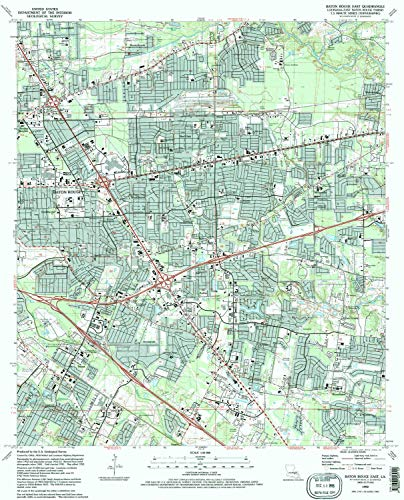 YellowMaps Baton Rouge East LA topo map, 1:24000 Scale, 7.5 X 7.5 Minute, Historical, 1992, Updated 1992, 26.8 x 21.6 in - Tyvek (Aubin Rouge)