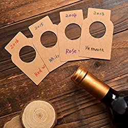 Kraft Paper Wine Bottle Tags - 200 Count Plain Paper Wine Cellar Labels