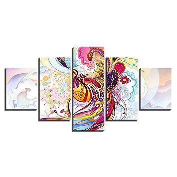 XFF Imagen Abstracta Mural artístico Partes divididas 5 Paneles/Lienzo de Alta definición para decoración de Barra-Técnica de Cepillo de Aire-Sin Marco,S: ...
