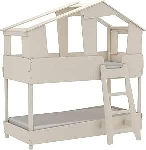 Miroytengo Cama litera Infantil Forma casa cabaña diseño Original Color Beige Unisex con SOMIERES 90x200: Amazon.es: Hogar