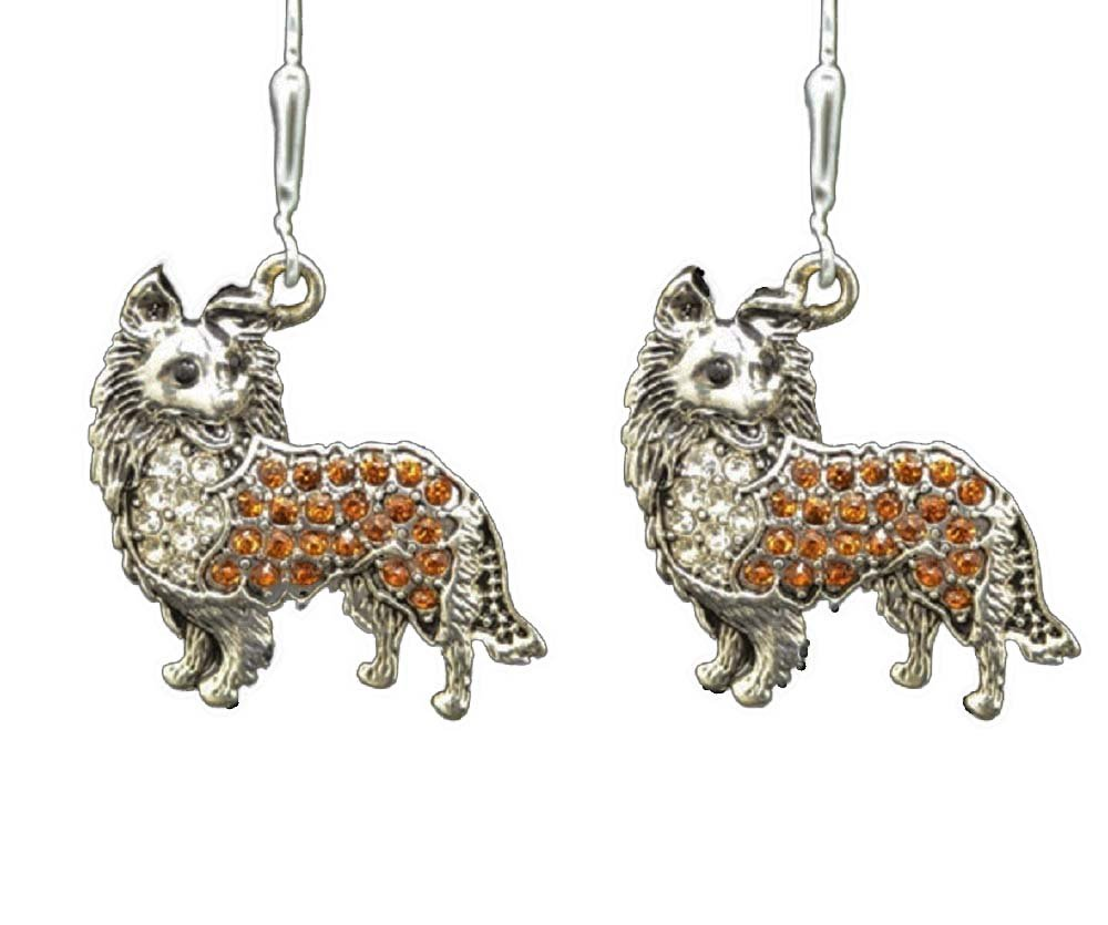 COLLIE, Pomeranian or Long Hair Chihuahua Brownish Orange Crystal Rhinestone Dog Earrings