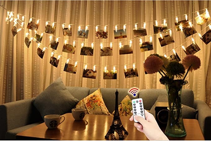 Yte luci a led per foto filo con mollette per 40 foto 5 m di luci