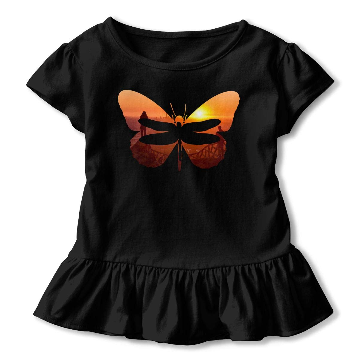 Dragonfly Butterfly Sunrise Toddler Baby Girls Short Sleeve Ruffle T-Shirt