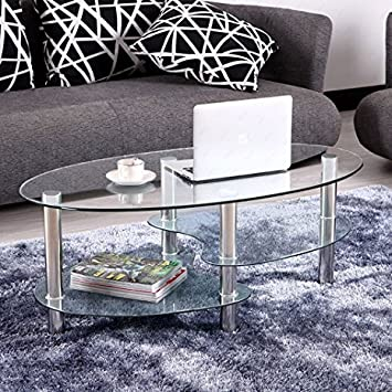 OFFICE MORE Glass Oval Side Coffee Table Shelf Chrome Base Living Room  Furniture Clear