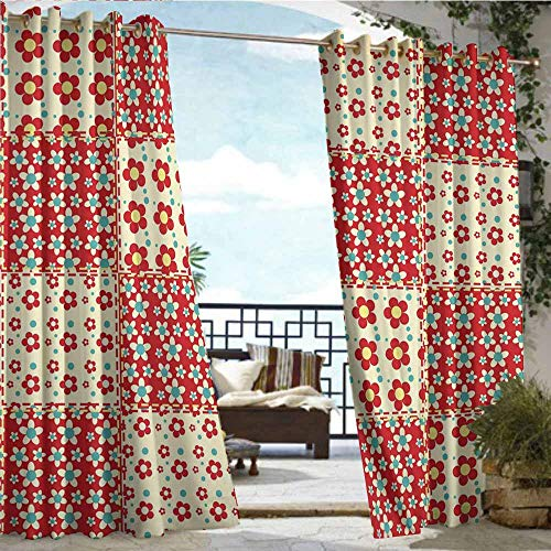 (Qenuan Outdoor Patio Curtain Pergola Curtain,Cabin Decor,Traditional Quilt Pattern with Spring Garden Flowers Daisies,Light Yellow Turquoise Red,Grommet Curtains for Bedroom63 x45 inch )
