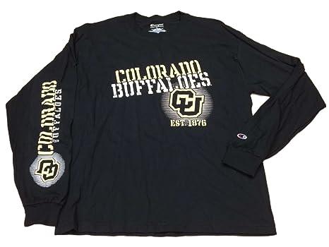 9c8d45550 Amazon.com : Champion Colorado Buffaloes Black Metallic Logo LS Crew ...