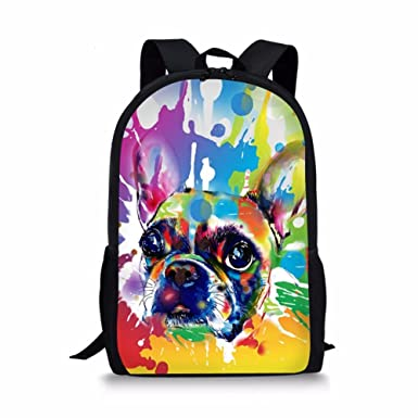 Amazoncom Showudesigns Colorful Painting Dog Backpack For School