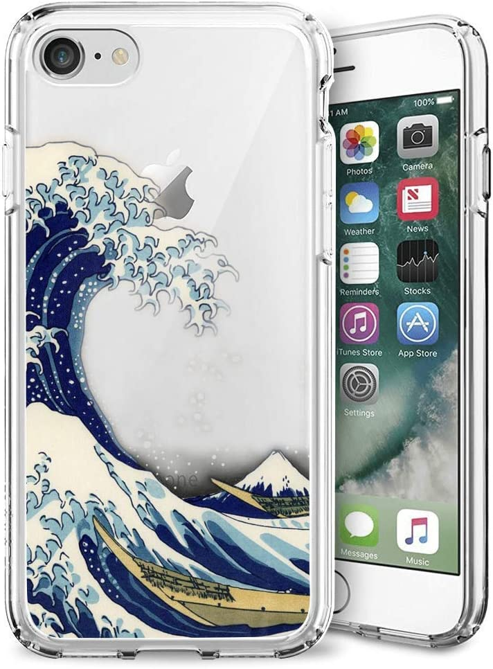 iPhone 7 8 Case,Slim Fit Shell Soft Thin Mobile Phone Clear Case with Non Slip Matte Surface Protective Clear case for iPhone 7 8-The Great Wave