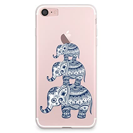 new arrival 5c2e5 96d2b CasesByLorraine iPhone 8 Case, iPhone 7 Case, Aztec Elephant Clear  Transparent Case Tribal Style Flexible TPU Soft Gel Protective Cover for  Apple ...