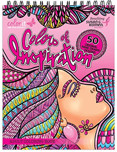 Colors of Inspiration Adult Coloring Book - Features 50 Original Hand Drawn Designs Printed on Artist Quality Paper with Hardback Covers, Top Spiral Binding, Perforated Pages, and Blotter by ColorIt -
