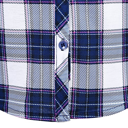 Urban GoCo Camisas Clásica de Mangas Largas y de Tartan con Botones Abajo para Mujeres #3