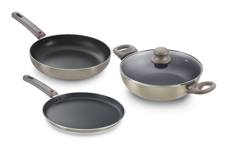 Prestige Omega Deluxe Metallica Aluminium Kitchen Set 3 Pieces Metallic Grey